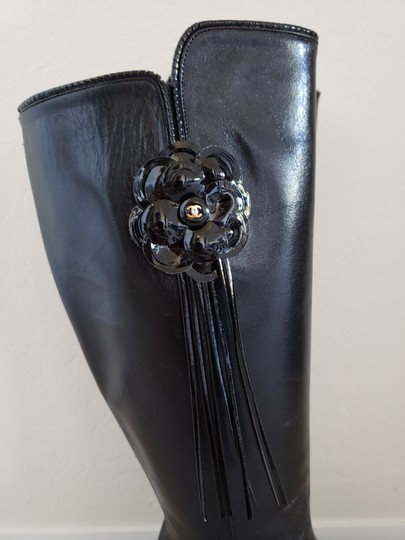 Chanel Patent Leather Gold Hardware Camellia Interlocking Cc Pointed Toe Black Boots Image 4