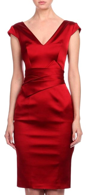 Item - Red Satin Mid-length Cocktail Dress Size 12 (L)