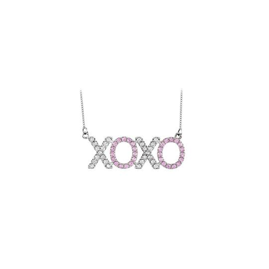 Preload https://img-static.tradesy.com/item/25268641/pink-cubic-zirconia-and-created-sapphire-xoxo-14k-white-go-necklace-0-0-540-540.jpg