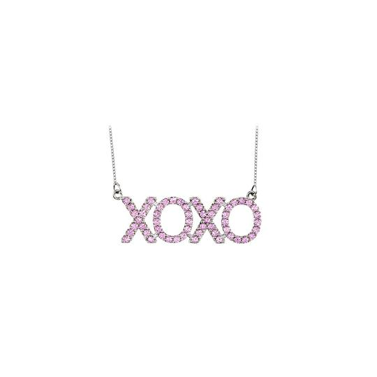 Preload https://img-static.tradesy.com/item/25268653/pink-14k-white-gold-created-sapphire-xoxo-with-1-ct-total-gem-necklace-0-0-540-540.jpg
