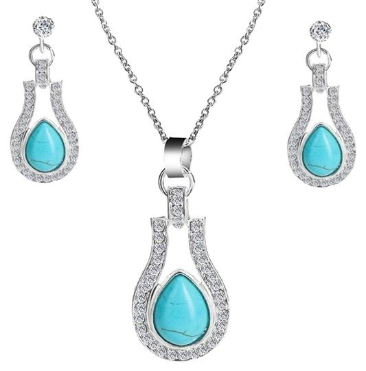 Preload https://img-static.tradesy.com/item/25268655/bohemian-silver-plated-crystal-and-turquoise-pendantearrings-necklace-0-1-540-540.jpg
