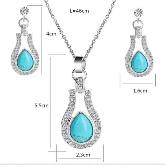 Other Bohemian Silver plated Crystal and Turquoise Pendant/Earrings Image 2