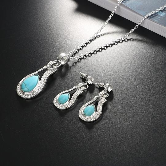 Other Bohemian Silver plated Crystal and Turquoise Pendant/Earrings Image 4