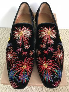 Christian Louboutin Black Multicolor Henri On Fire Firework Embroidered Velvet Loafers Shoes