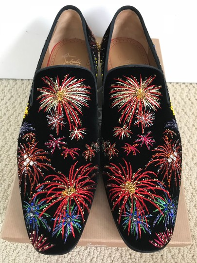 Christian Louboutin Black Multicolor Henri On Fire Firework Embroidered Velvet Loafers Shoes Image 0