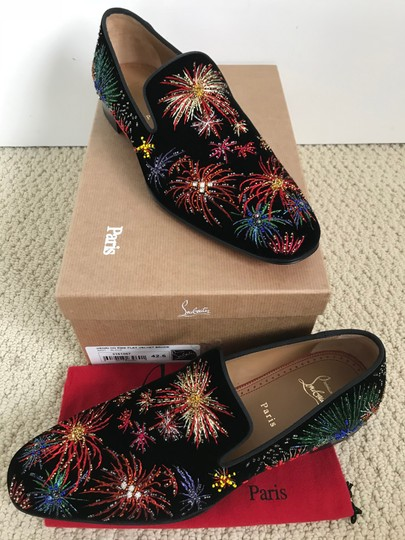 Christian Louboutin Black Multicolor Henri On Fire Firework Embroidered Velvet Loafers Shoes Image 1