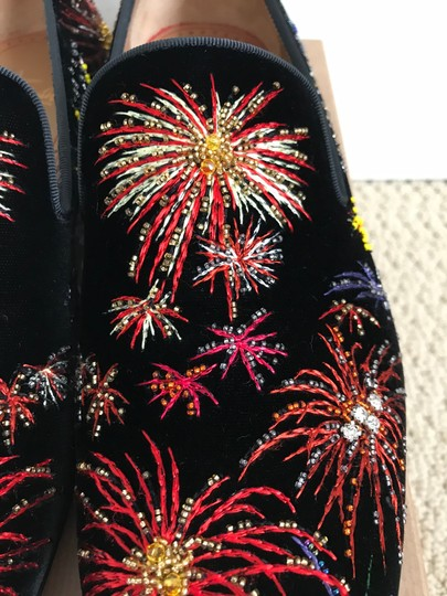 Christian Louboutin Black Multicolor Henri On Fire Firework Embroidered Velvet Loafers Shoes Image 10