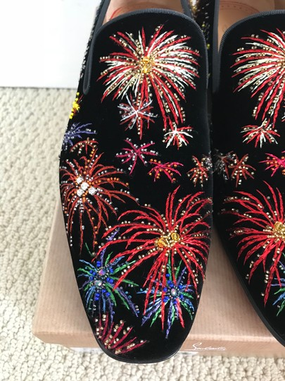 Christian Louboutin Black Multicolor Henri On Fire Firework Embroidered Velvet Loafers Shoes Image 11