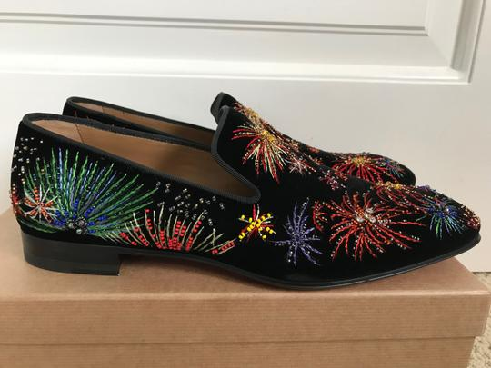 Christian Louboutin Black Multicolor Henri On Fire Firework Embroidered Velvet Loafers Shoes Image 3