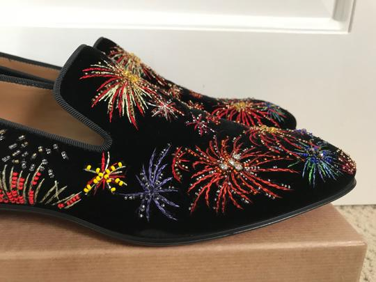 Christian Louboutin Black Multicolor Henri On Fire Firework Embroidered Velvet Loafers Shoes Image 6