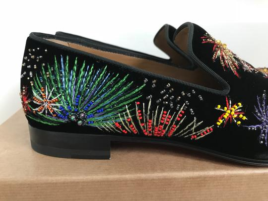 Christian Louboutin Black Multicolor Henri On Fire Firework Embroidered Velvet Loafers Shoes Image 7