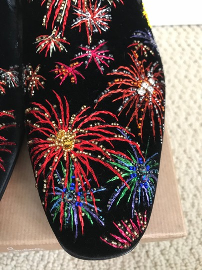 Christian Louboutin Black Multicolor Henri On Fire Firework Embroidered Velvet Loafers Shoes Image 9