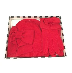 32e512715b73f Kate Spade Kate Spade Dorothy Bow Beanie Hat And Gloves Set Red In Gift Box