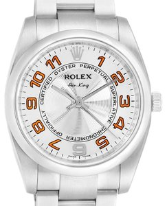 Rolex Rolex Air King Silver Orange Dial Steel Unisex Watch 114200