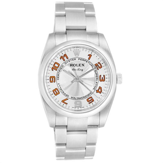 Rolex Rolex Air King Silver Orange Dial Steel Unisex Watch 114200 Image 1