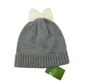 Kate Spade Kate Spade Colorblock Bow Cuff Hat Beanie Gray Cream