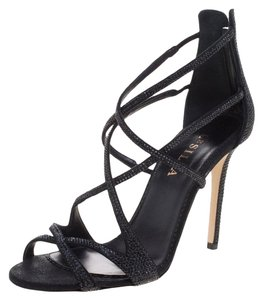 Le Silla Crystal Embellished Suede Strappy Black Sandals