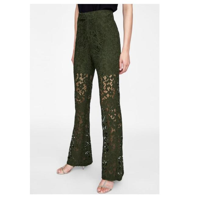 Zara Green Lace (7603) Pants Size 4 (S, 27) Zara Green Lace (7603) Pants Size 4 (S, 27) Image 1