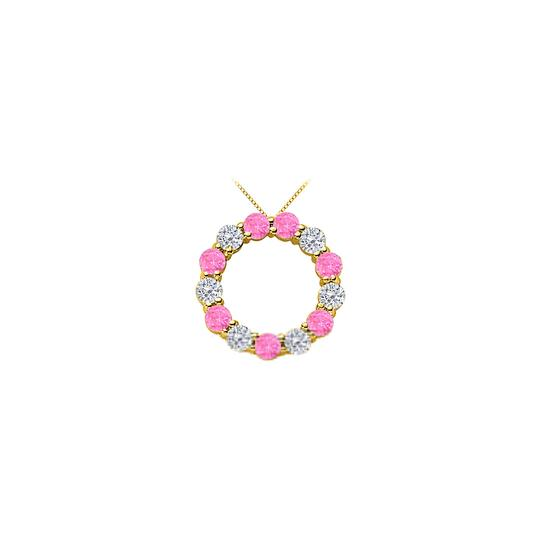 Preload https://img-static.tradesy.com/item/25269003/pink-2-ct-cubic-zirconia-and-created-sapphire-circle-14k-y-necklace-0-0-540-540.jpg
