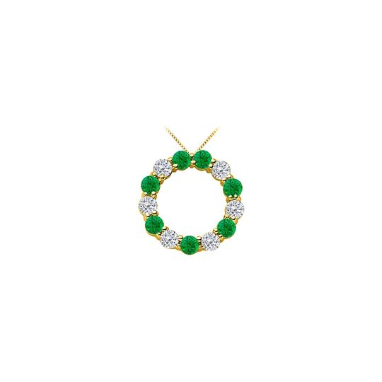Preload https://img-static.tradesy.com/item/25269009/green-created-emerald-and-cubic-zirconia-circle-14k-yellow-necklace-0-0-540-540.jpg