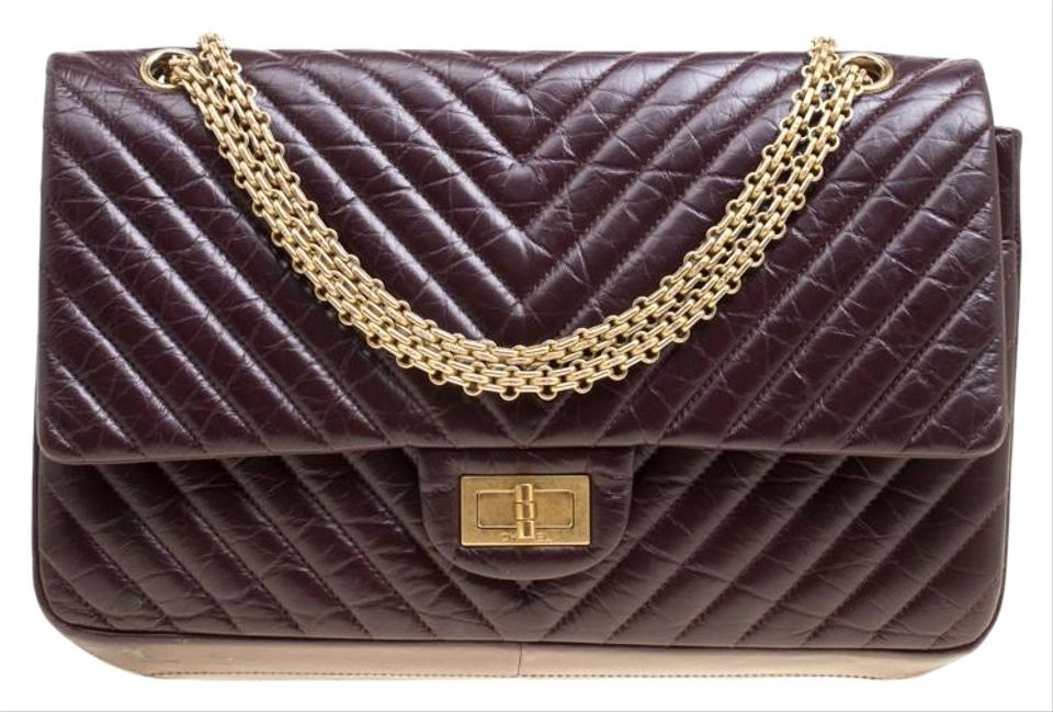 296fe25432ab0d Chanel 2.55 Reissue Chevron Quilted Reissue Classic 227 Flap Burgundy  Leather Shoulder Bag