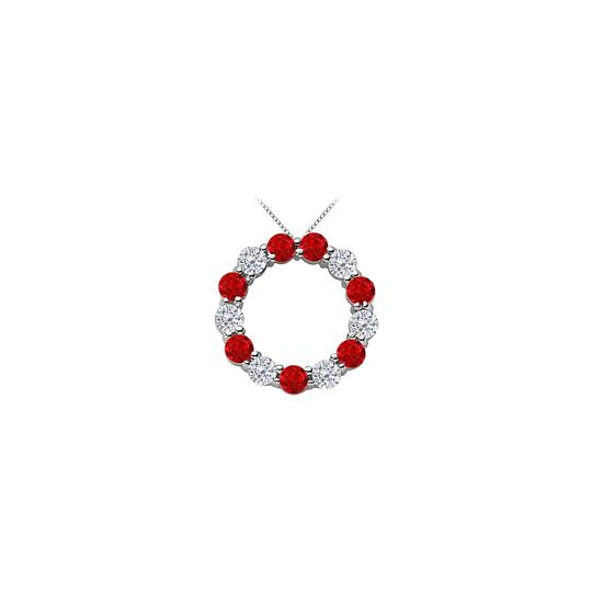 Preload https://img-static.tradesy.com/item/25269077/red-14k-white-gold-created-ruby-and-cubic-zirconia-circle-of-life-eternity-necklace-0-0-540-540.jpg