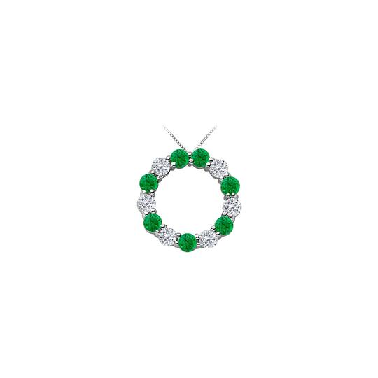 Preload https://img-static.tradesy.com/item/25269117/green-created-emerald-and-cubic-zirconia-circle-14k-white-necklace-0-0-540-540.jpg
