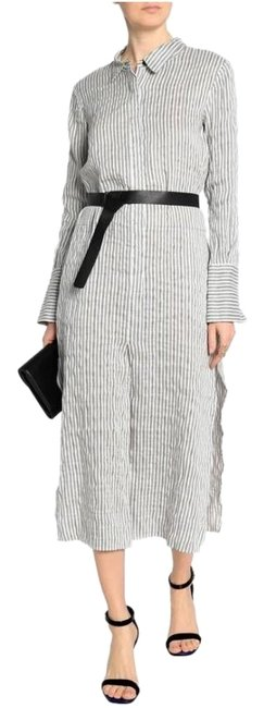 Item - White/Gray Relaxed Fit Pinstripe Midi Shirtdress Mid-length Work/Office Dress Size 2 (XS)