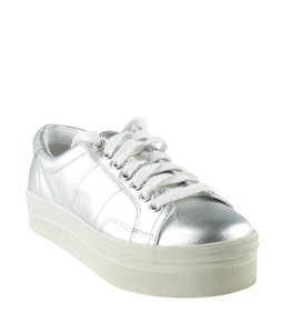 Marc Fisher Sneakers Leather Silver Flats