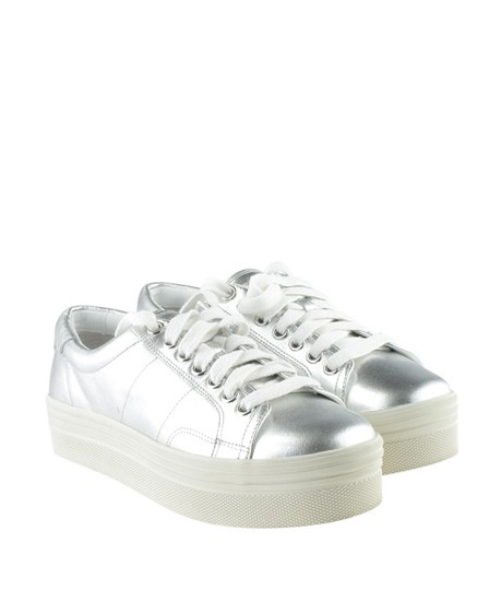 Marc Fisher Sneakers Leather Silver Flats Image 1
