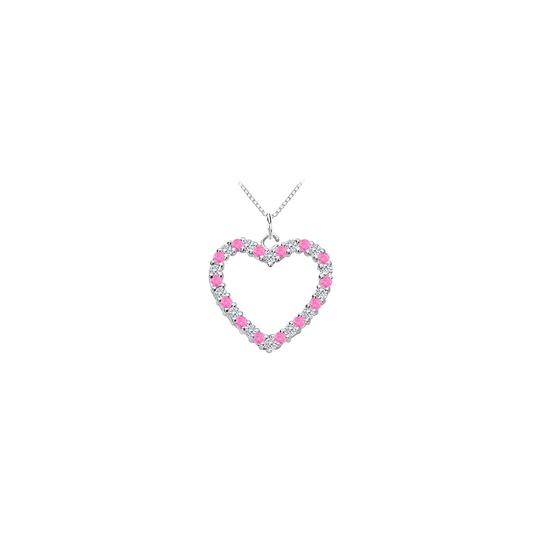Preload https://img-static.tradesy.com/item/25269154/pink-14k-white-gold-heart-pendant-with-cubic-zirconia-and-created-sapp-necklace-0-0-540-540.jpg