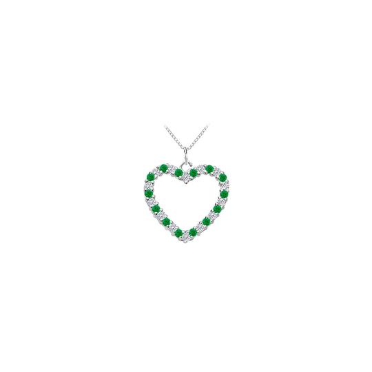 Marco B Green Created Emerald and Cubic Zirconia Heart Pendant in White Gold 1 Image 0