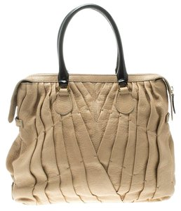 Valentino Leather Tote in Beige