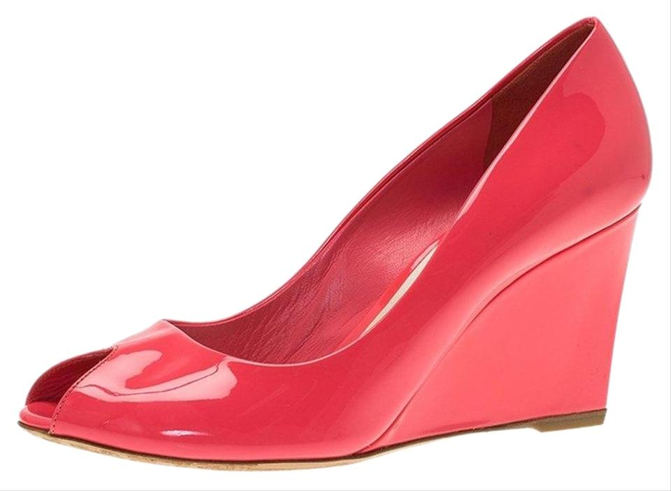 977400d9a02a0 Dior Pink Candy Patent Peep Toe Wedge Pumps Size EU 38.5 (Approx. US ...