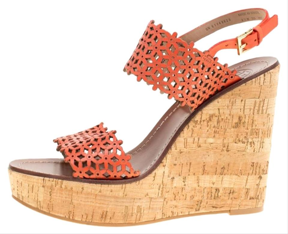 7a7575522 Tory Burch Red Coral Perforated Leather Daisy Cork Wedge Sandals ...