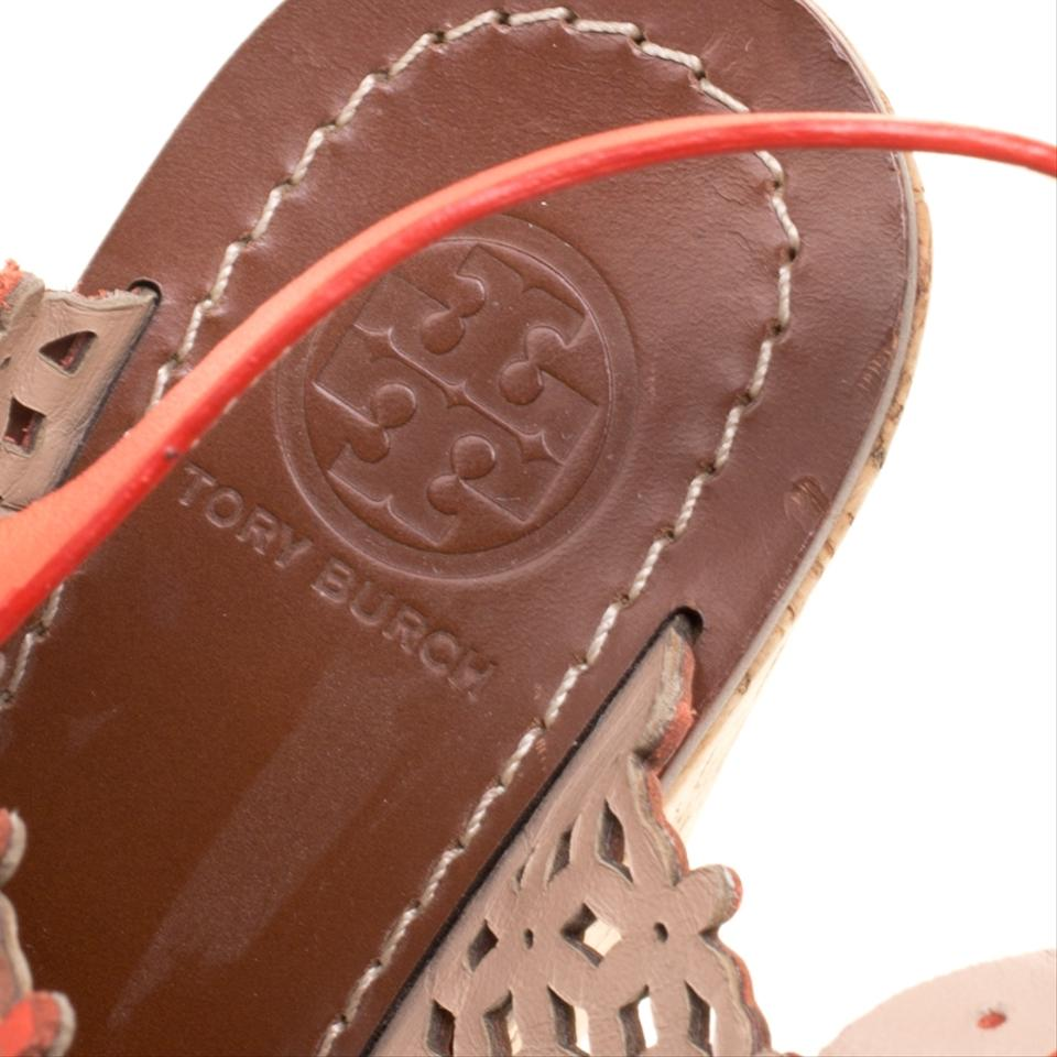 71de92977 Tory Burch Red Coral Perforated Leather Daisy Cork Wedge Sandals ...
