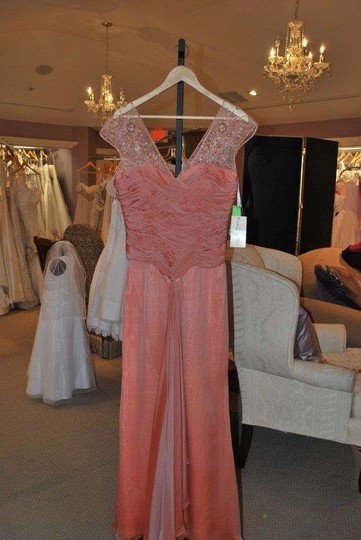 Coral Orange Silk R1614 Formal Bridesmaid/Mob Dress Size 8 (M)