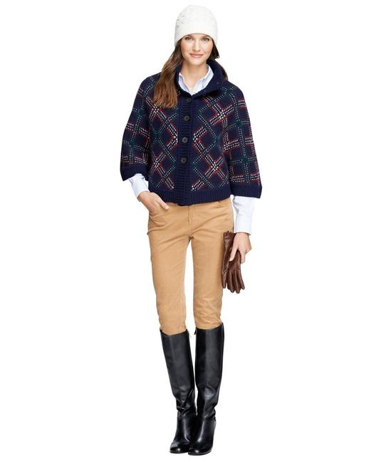 Item - Navy Blue Brooks Brothers Women's Saxxon Wool Button-front New Poncho/Cape Size OS (one size)