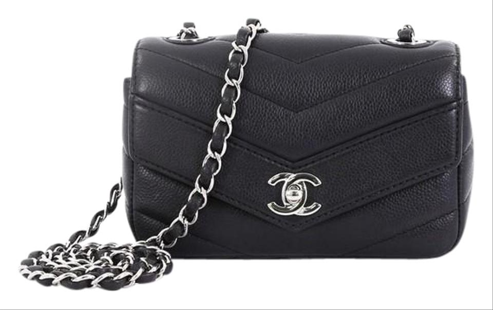 9edd28fc3d95 Chanel Classic Flap Data Center Envelope Chevron Caviar Mini Black ...