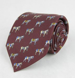 Gucci Dark Red Silk with Horse and Belt Print 388148 6069 Tie/Bowtie