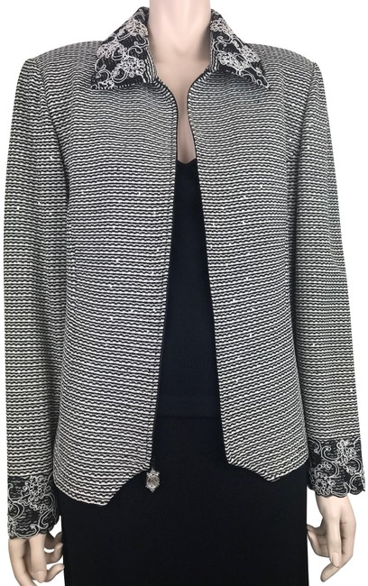 Item - Black White Silver Evening & Tweed Knit Sequin & Lace Jacket Size 14 (L)