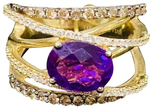 Le Vian Grape Amethyst (1-3/8 ct.tw.) and Diamond (3/4 ct.t.w) crisscross statement ring in 14K yellow gold