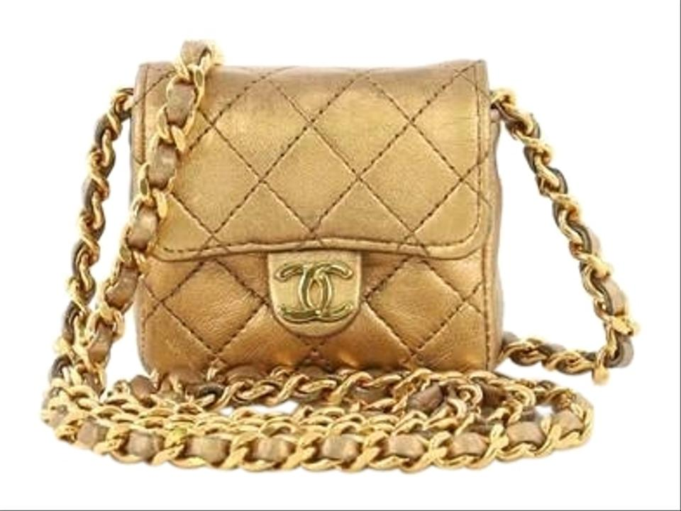 271c916c5d0477 Chanel Classic Flap Vintage Square Cc Quilted Micro Gold Metallic ...
