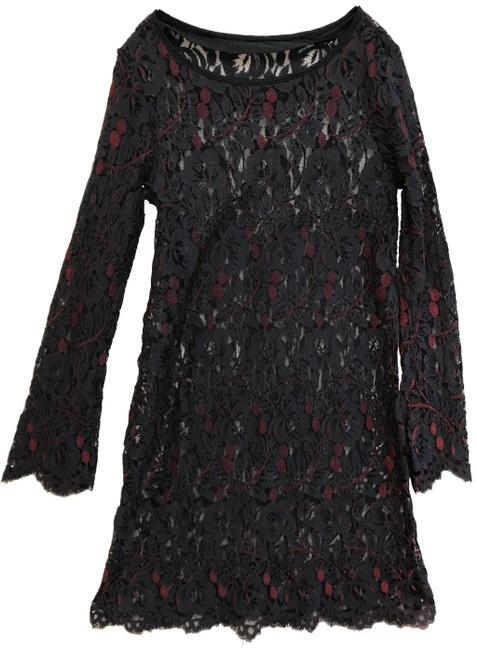 Item - Black/Red Lace Open Neck * Sheer with Sleeves Short Night Out Dress Size 4 (S)
