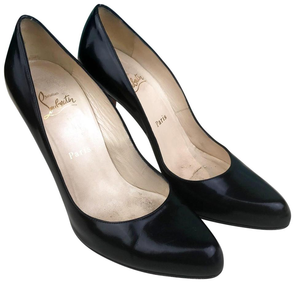 promo code 95f67 27b91 Christian Louboutin Black Leather Simple Heels Sale Pumps Size EU 39.5  (Approx. US 9.5) Regular (M, B) 75% off retail