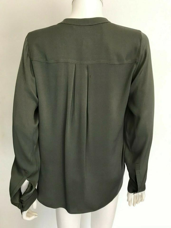 d9cc4fe737f892 Vince Drab Olive Green Silk Blend Shirt Blouse Size 12 (L) - Tradesy
