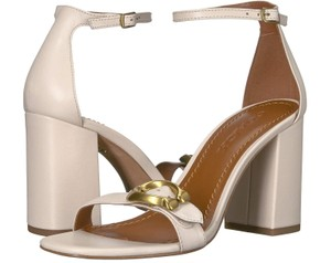 d270499bd096 Coach Chunky Leather Ankle Strap White Sandals