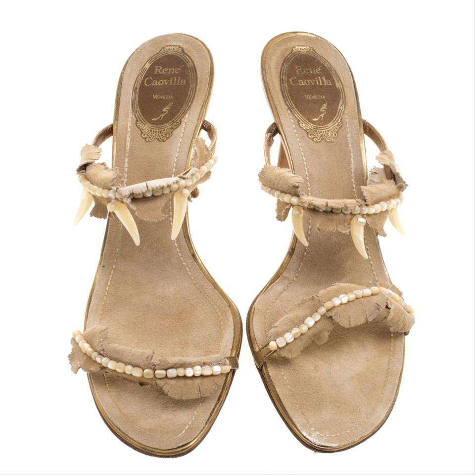 1025cd323673 Rene Caovilla Beige Embellished Suede Slides Sandals Size EU 38.5 (Approx. US  8.5) Regular (M