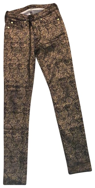 Item - Black/Gold Mid-rise Black/Gold Skinny Jeans Size 0 (XS, 25)