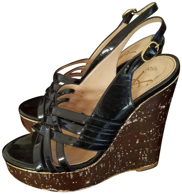 Item - Black Patent Iconic Gold Wedges Size US 6 Narrow (Aa, N)